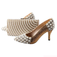Image of BS007  Custom Made Pointed Toe Gold Rhinestones Italian Shoes With Matching Bag Set Bridal Wedding Shoes Women Shoes Dress Pums