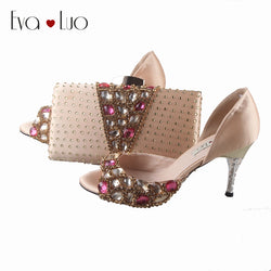 BS755 DHL Custom Made Champagne Fuchsia Crystal Shoes With Matching Bag Set  Women Shoes Dress Pumps Bridal Wedding Shoes