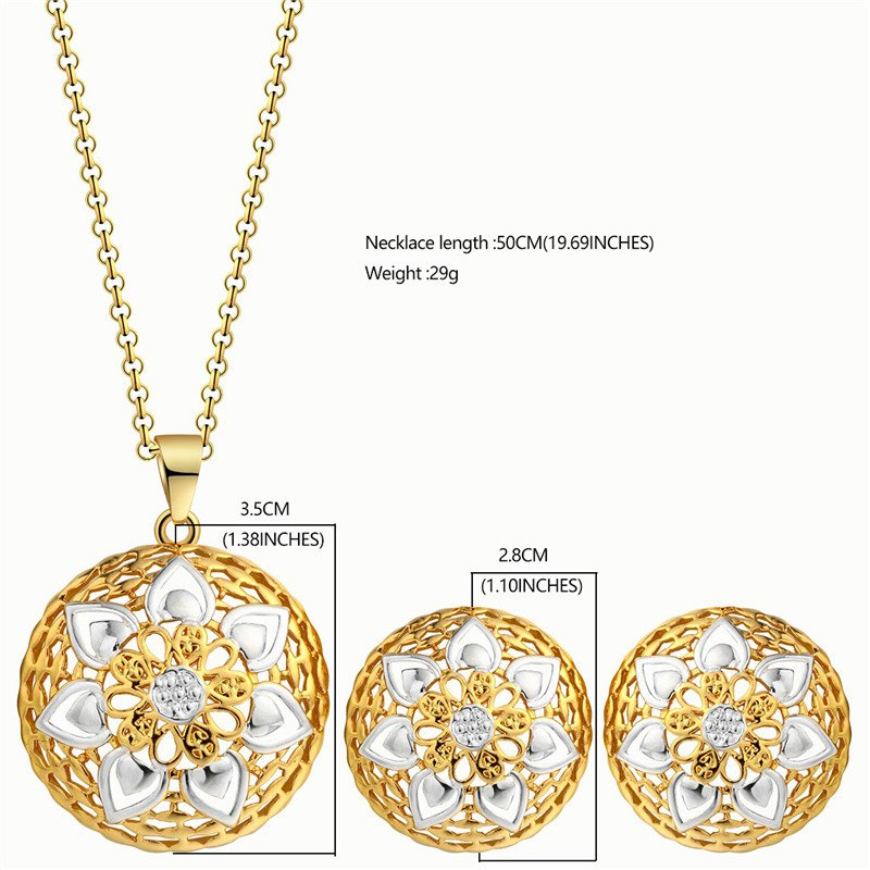 ... BTSETS African Jewelry Set Gold Color Costume Wedding Jewelry Sets For  Women Fashion Round Bridal Earrings ... 13edcfbde380