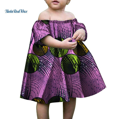 b4ba07a91fb1d Baby Girls A-line Dress African Wax Print Long Dress for Kids Children  Bazin Riche Traditional African Clothing WYT23