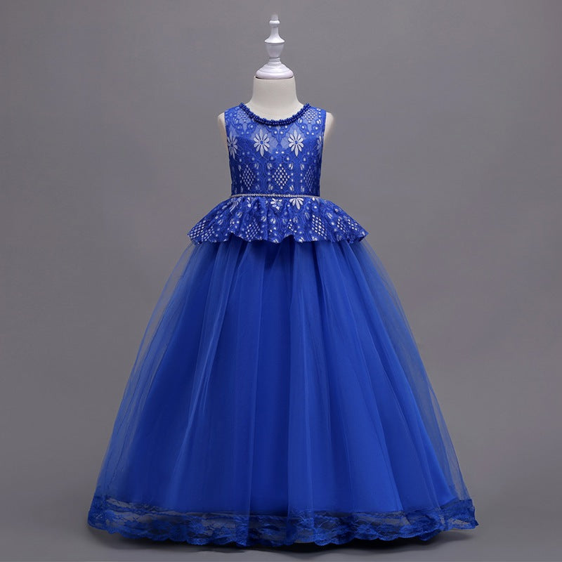 33c9b6dc7b50 Baby Girls Pearl And Lae Dress Kids 2018 Cosplay Ball Gown Children  Princess Dresses For Party. Hover to zoom