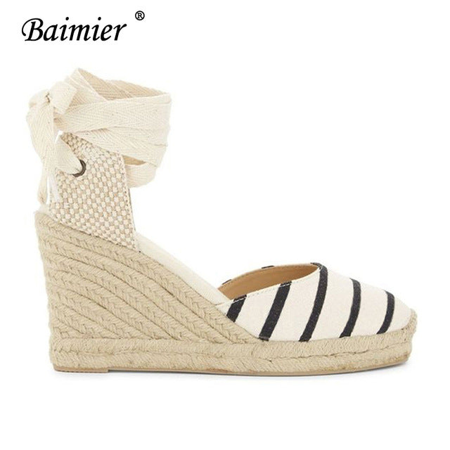 f97b2feb4 ... Ankle Strap Wedge Espadrilles Women Lace Up Gladiator Sandals Summer.  Hover to zoom