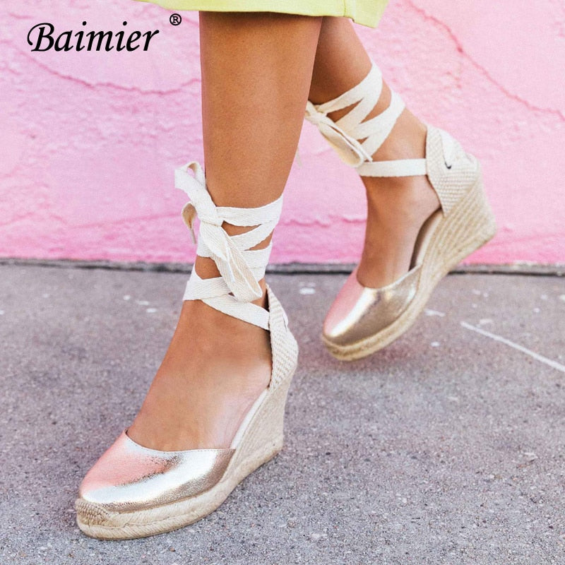 fc947076293 ... Ankle Strap Wedge Espadrilles Women Lace Up Gladiator Sandals Summer.  Hover to zoom