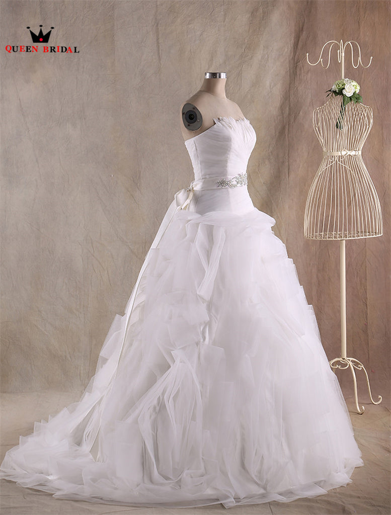 Ball Gown Ruffle Tulle Feathers Long Formal Mariage Wedding Dresses ...