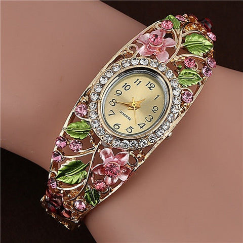 Bangle Watches 18k Gold Plated Crystal Flower Women Bracelet Dress Quartz Watch Luxury Digital Wristwatch Relogio Feminino