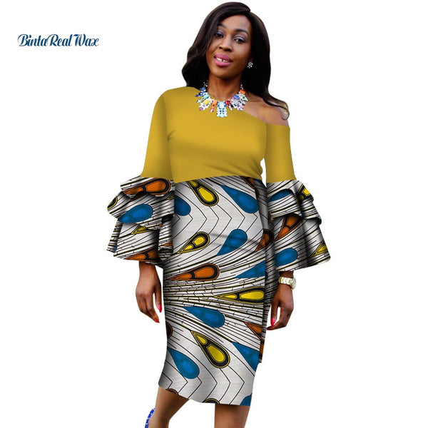 Bazin Riche African Wax Print Dresses for Women Patchwork Dresses Dashiki African Style Clothing Ruffles Sleeve Dresses WY4352