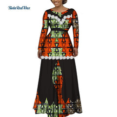 Bazin Riche Women African Clothing Flower Edge Applique Long Dress Party Vestidos Dashiki African Print Dresses for Women WY3541