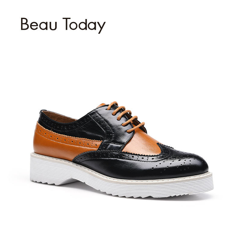 ef336541860f6 BeauToday Brogue Shoes Women Wingtip Lace-Up Round Toe Genuine Cow Leather  Mixed Colors Flats Handmade 21021