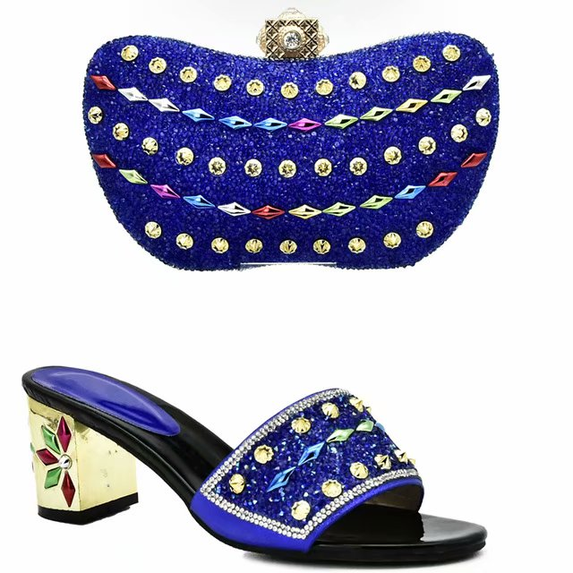 ... Beautiful Women Shoe and Bag Italian Design Set Decorated with Rhinestone  African Wedding Shoes and Bag ... 04d8ff5aa157