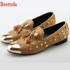 Beertola Men Shoes Genuine Leather Fringe Metal Toe Gold Rivets Fashion  Crystal Party Wedding Males Suede 1698fb896652