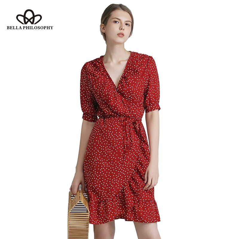 92fe8a342c Bella Philosophy 2018 summer vintage one piece polka dot print dress  ruffles wrap knee-length ...