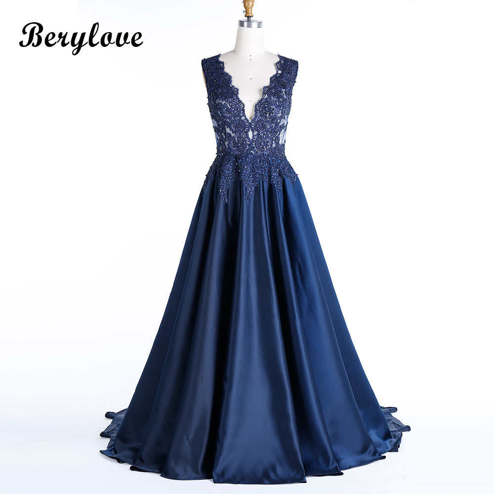 ... BeryLove Morden Dark Navy Blue Plus Size Evening Dresses 2018 Deep V  Neck Beaded Lace Prom ... db871a7da19f