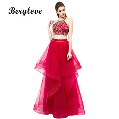 BeryLove Red 2 Pieces Evening Dresses 2018 Long Ruffled Beaded Tulle  Evening Dress Two Pieces Prom ... 117cd6f810bb