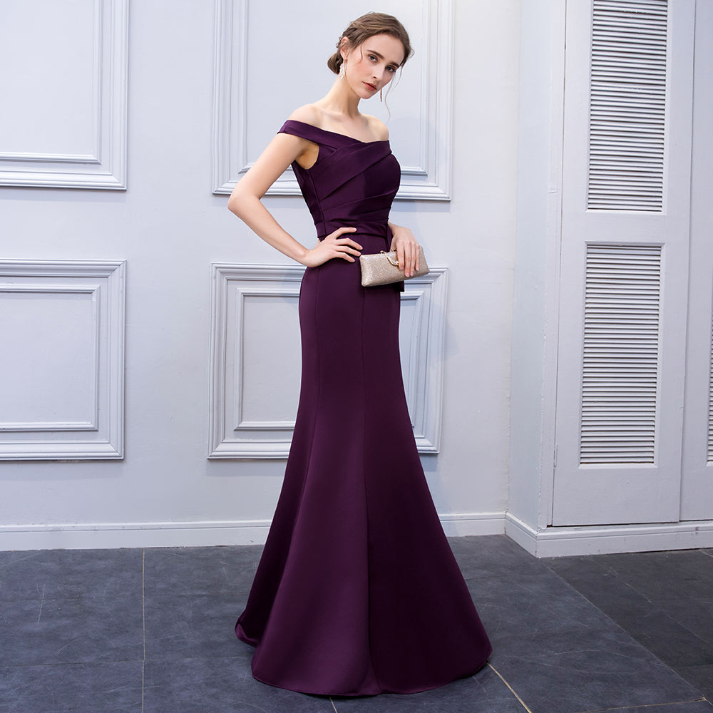 ... BeryLove Simple Mermaid Purple Satin Evening Dresses 2018 Long Off  Shoulder Evening Gowns Formal Evening Dress ... 984dd56cdeb4