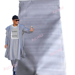 Best Selling Atiku Material Men Fabric African Sky Blue Color Nice Quality Polish Lace 5 Yards Per Piece Mix Designs 30