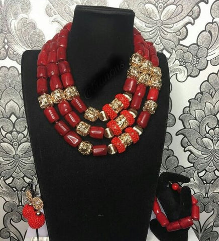 Big Real Coral Bead Traditional Nigerian Wedding African Coral Beads Jewelry Set Women Party Anniversary Gift Jewelry CNR885