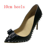 Big Size 34-45 Spikes Bow-tie Shallow Toe Classical Women Pumps Ladies Sexy Spikes High Heels Shoes