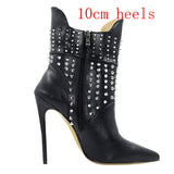 Big Size 35-45 Warm Women Ankle Boots Sexy Silver Spikes Rivets Latest Design Luxury Brand Women Boots