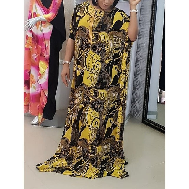 9cb2a8fdcb506 Big Size Summer 2019 African Style Party Women Long Dresses Casual Oversize  Loose Print Female Batwing Sleeve Vintage Maxi Dress