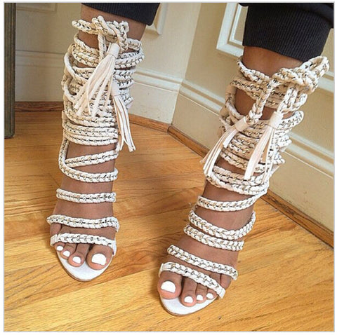 0e2b3b34540868 Image of Big Size Summer Chain Rope Strappy High Heels Sandals Women Cut  Outs Gladiator Sandal ...