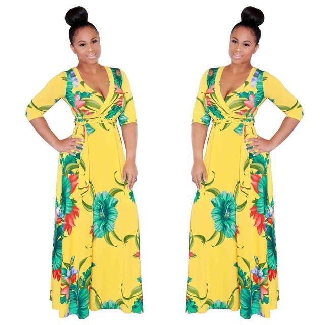 b78b29500590 Hover to zoom · Big Swing dress New style African Women Dashiki classic  Print elastic cloth long dress Plus Size
