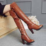 Big size 34-45 2016 Winter New High Heel Boots Leisure Elegant  Heels Sexy Women Shoes Round Toe  Heel Leather Boots T703-5