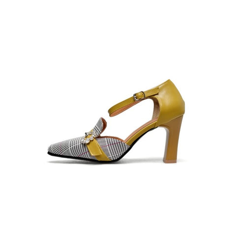 Big size 34-46 New Sandals High heel Women's shoes Summer Lady's shoes Fashion diamond Grid cloth black yellow beige green