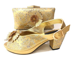 Big size 38-43 full rhinestones sandal shoes with matching clutches bag in gold color women shoe and bag matching set SB8244-3