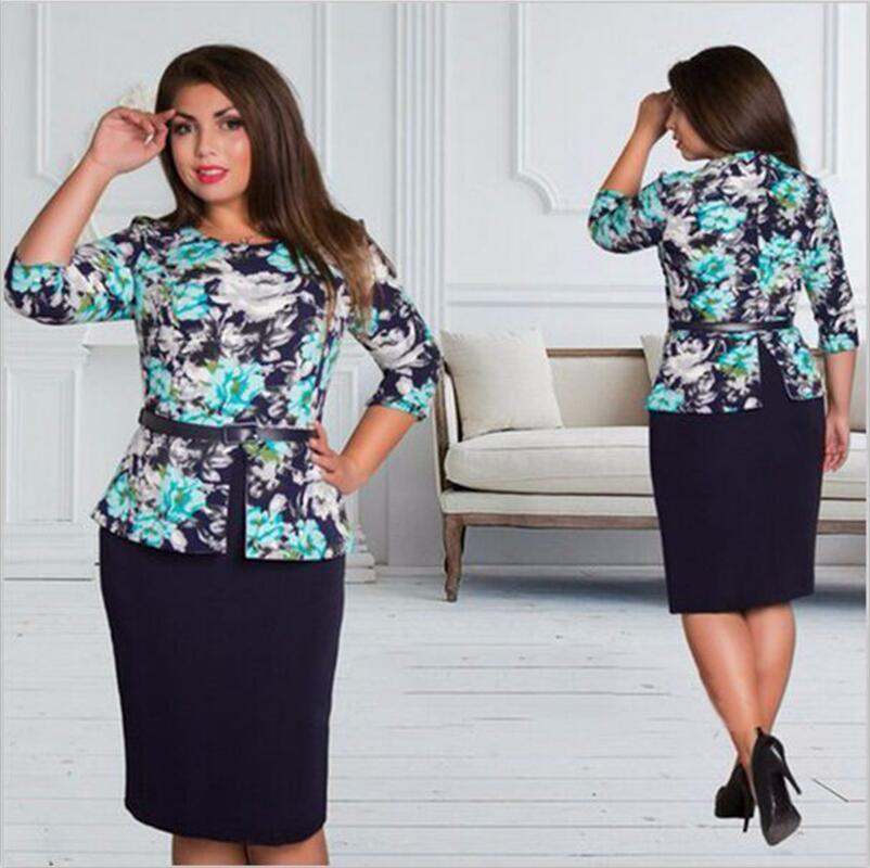 a3908d8f439 Big size 6XL 2017 Summer women dress fat MM casual bodycon loose printing  office dresses plus. Hover to zoom