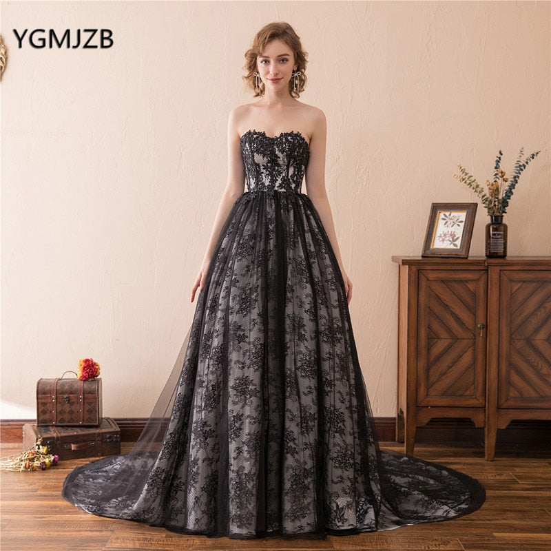 33b37452c29c Hover to zoom · Black Ball Gown Prom Dresses 2018 Sweetheart Floor Length  African Women Lace Formal Long Evening Gowns