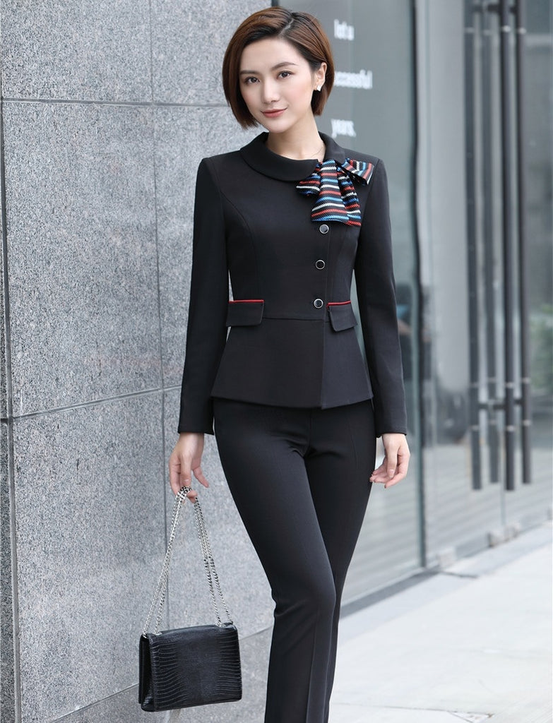 Pant Suits Suits & Sets High Quality Ladies Blue Blazer Women Business Suits Formal Office Suits Work Wear Uniforms Pant And Jacket Set Pantsuits