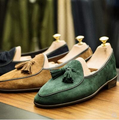 Black Green Coffee Brown Khaki Blue Mens Suede Mocassion Espadrilles Flats Shoes Casual Fashion Loafers Fringe Slip On Shoe
