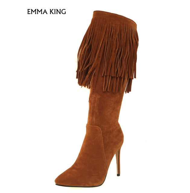 save off new season new Black Knee High Boots Women Pointed Toe High Heel Boots Suede Zip Up High  Botas Mujer 2019 With Tassels Party Shoes Woman Heels