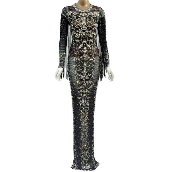 Black Mesh See Through Sparkly Crystals Long Dress Evening Party Rhinestones Dresses Birthday Tassel Stage Costume Fringes Dress