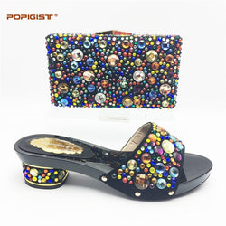 Black Short Comfortable heel Wedding Shoes and Bag Set with Shining Rhinestone African Women Matching Italian Shoe and Bag Set