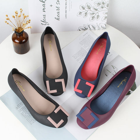 Black Wedge Heels Women's Shoes Casual High Heels Comfortable Matte Plastic Non-slip Spring And Autumn Jelly Ladies Shoes