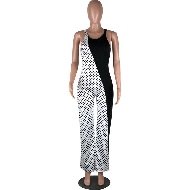Black White Patchwork Polka Dot Jumpsuit Women 2018 Elegant