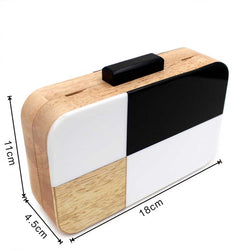 Black and White Designer Handmade Wooden Women Evening Box Clutch Purse Acrylic Solid Bag Chain Women's Cross-body Handbag