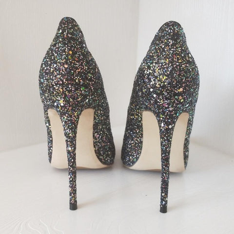 Black high-heeled patent exclusive brand sequins shallow buckle ladies high heels 8 cm 10 cm 12 cm