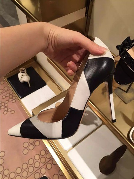 2d9aa78da Black white mixedcolor women shoes stiletto Slip-on High Heels glaze surface  pumps female dress. Hover to zoom