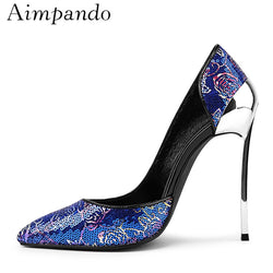 Bling Blue Sequined Cloth High Heel Pumps Women Sexy Spring 2019 Metal Stiletto Heel Point Toe Side Cut Out High Heels Women