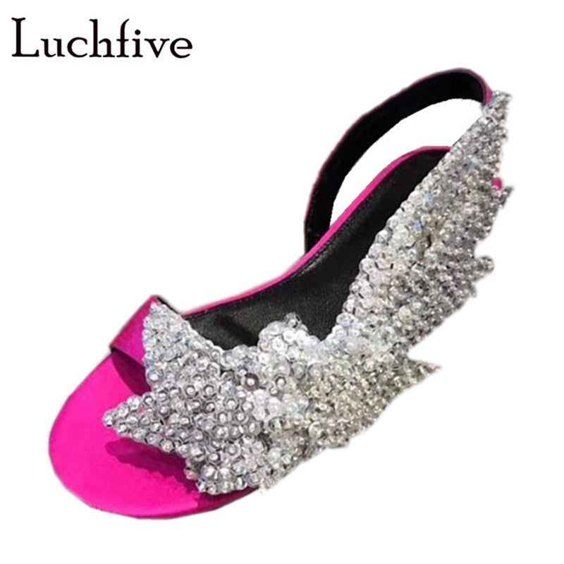be9fe59be2 Bling Sequins Beads Rose Red Women Sandals Classic Open Toe Slingbacks Flat  Shoes Woman Runaway Summer Sandalias Mujer 2019