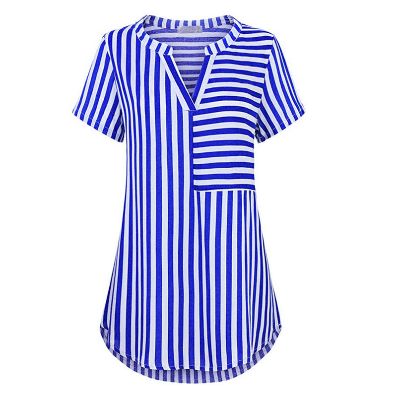 ebc13f91c1d ... Blouse Women Striped Shirt V Neck Causal Ladies Top Short Sleeve Summer Plus  Size S- ...