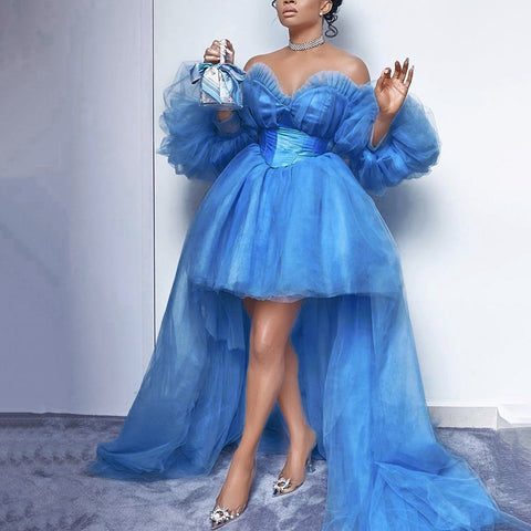 Image of Blue Mesh Ball Gown Party Dress Long Sexy African Ladies Long Sleeve Off Shoulder High Low Club Evening Pleated Tutu Maxi Dress