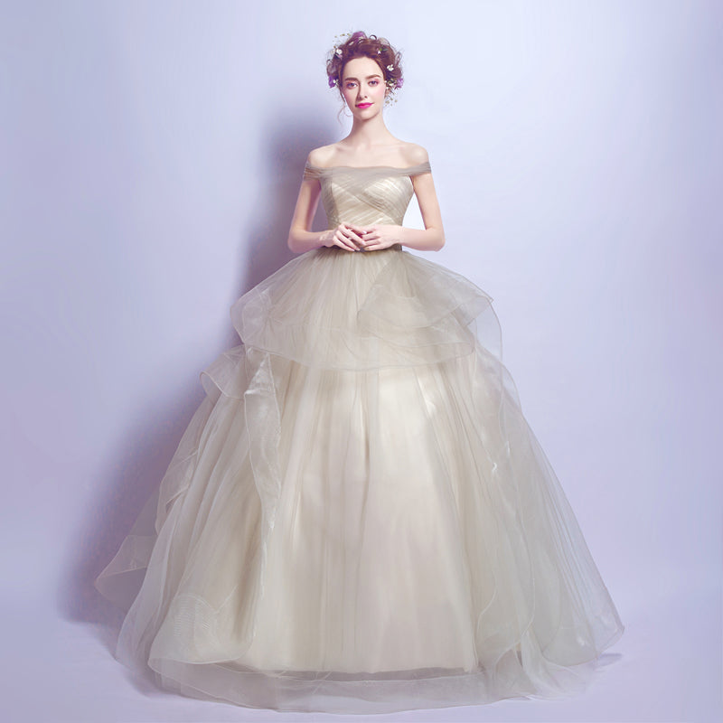 Boat Neck Light Green Evening Dresses A Line Tulle With Ruffle ...