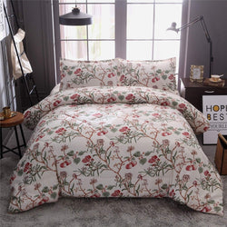 Bohemian Botanical Flowers Birds Cherry Pattern Printed, Quilt Set Bedding Bedspread