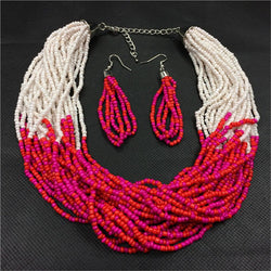 Bohemian HandWoven Multi-layer Long Necklaces Nigerian Wedding African Beads Necklace Earrings Big Brand Jewelry Set For women