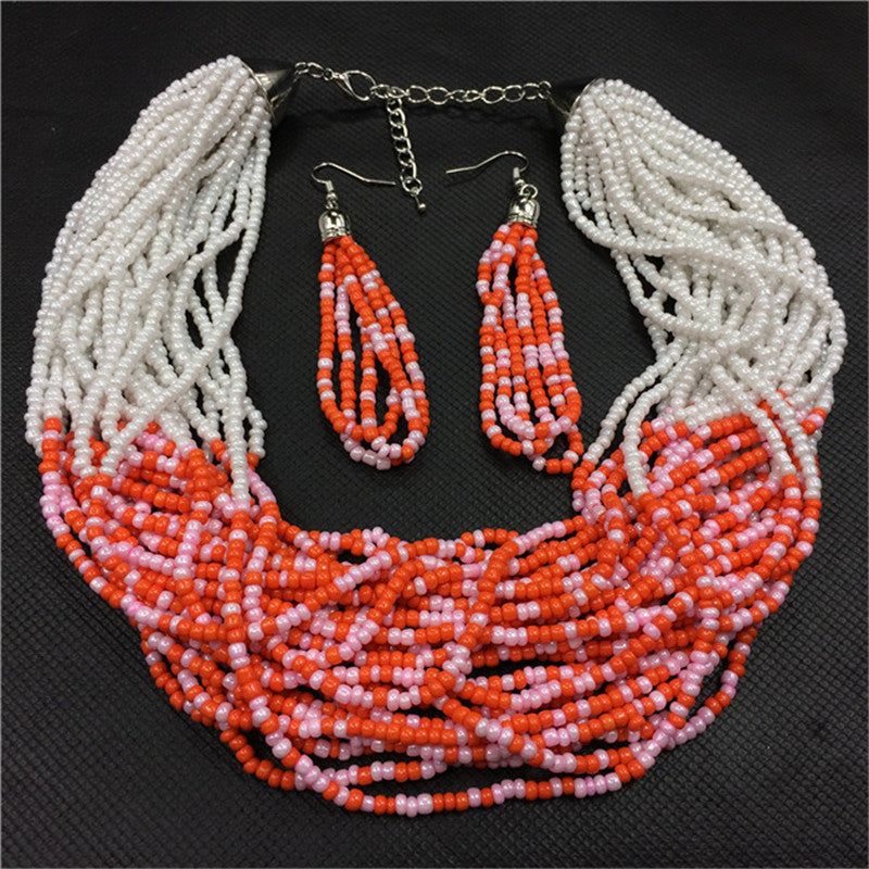 ba28aee058dc87 ... African Beads Necklace Earrings Big Brand Jewelry. Hover to zoom