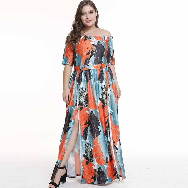 Bohemian Plus Size Elegant Dresses Summer Expansion Plant Color ...