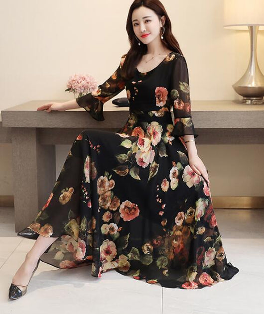 Bohemian Style Dress 2019 Summer New Arrival Round Collar ...